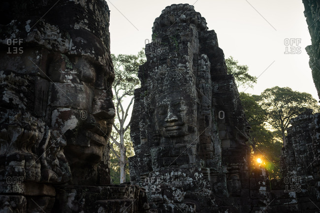 The temples of Angkor Wat at sunset