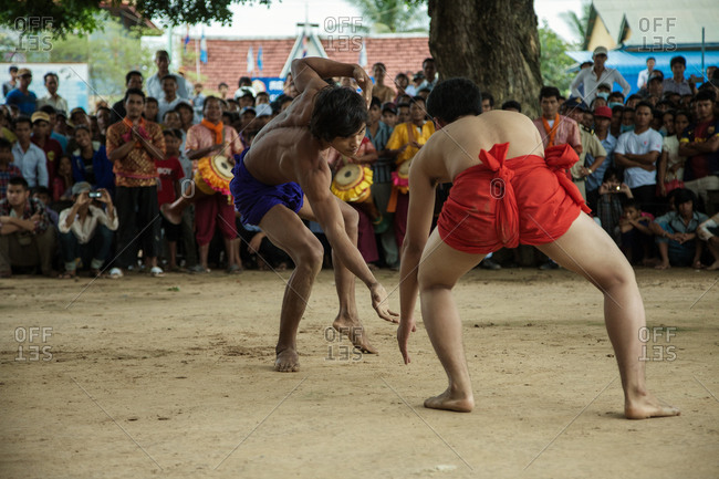 Vihear Suor, Kandal, Cambodia - October 4, 2013: Cambodian wrestlers during traditional festival