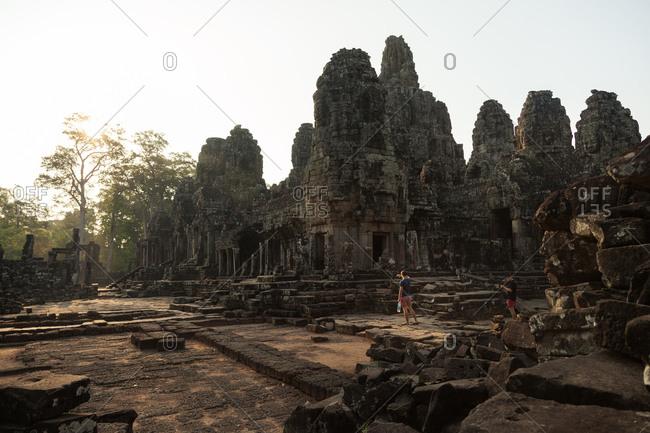 Siem Reap, Angkor Wat, Cambodian - March 31, 2014: Tourists at Angkor Wat
