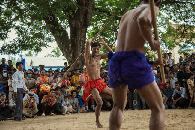 Vihear Suor, Kandal, Cambodia - October 4, 2013: Wrestlers at traditional Cambodian festival