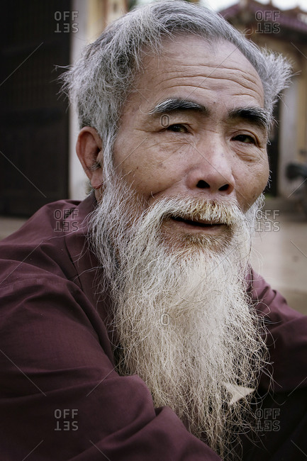 Lam Son Village, Vietnam - April 2, 2005: Portrait of an elderly man in Vietnam