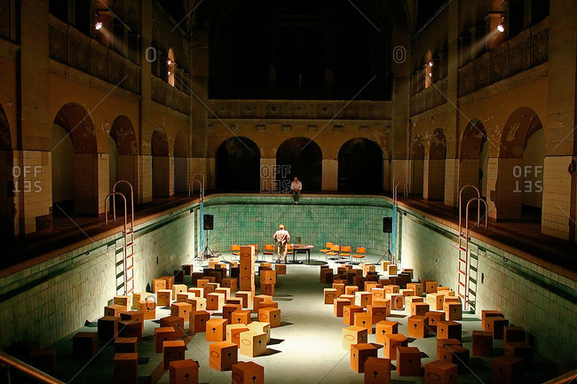 A old public swimming pool transformed in a theater, Berlin