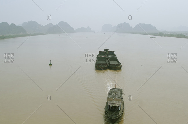 Tugboat sailing on the Mekong Delta in Vietnam