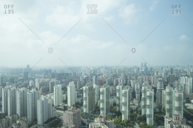 Buildings spread across an expansive city landscape
