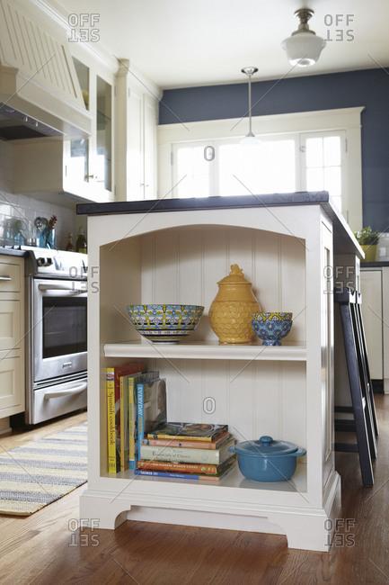 A display shelf in kitchen