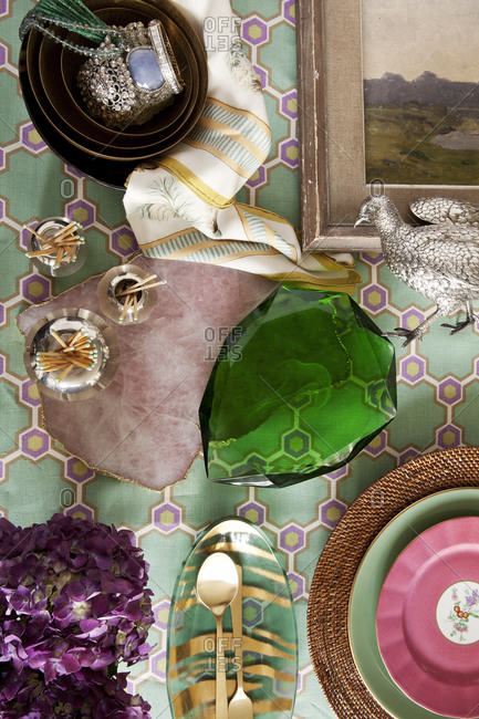Various kitschy decor pieces on table