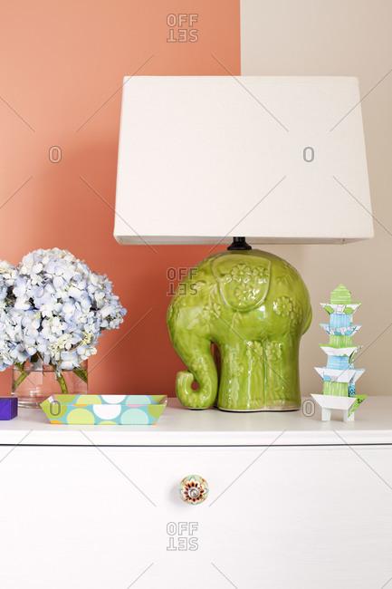 Kitschy nightstand decor