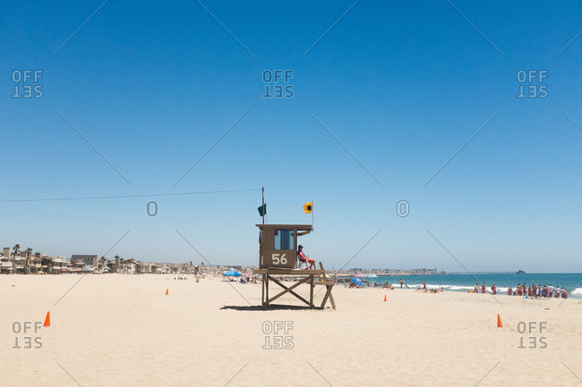 A lifeguard tower on a beach