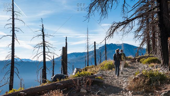 Hiker on trail in Lake Tahoe
