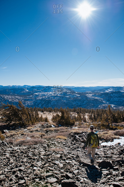 Hiker walking on Mount Tallac