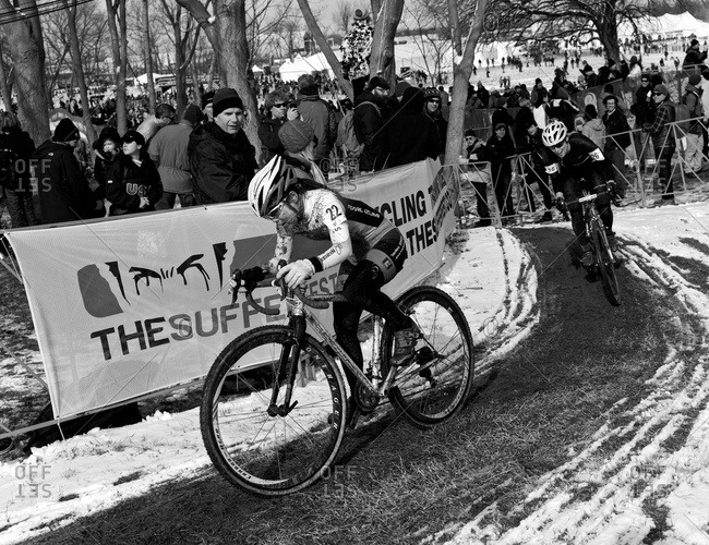 Louisville, KY - February 2, 2013: Cyclocross racers passing through curves along route