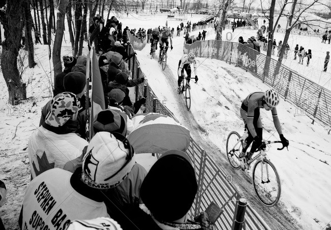 Louisville, KY - February 2, 2013: Onlookers watching Cyclocross racers on snowy course