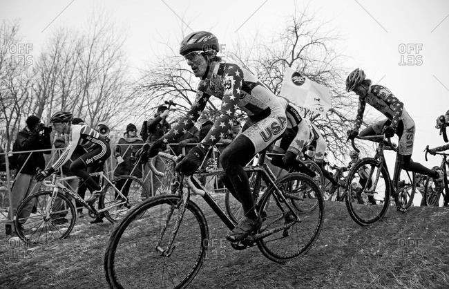 Louisville, KY - February 2, 2013: racers on Cyclocross course doing downhill