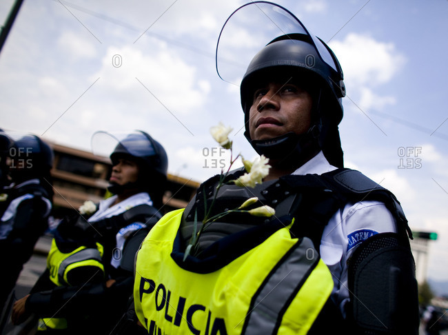 Guatemala City, Guatemala  - May 17, 2009: Police officers during protests for  President Alvaro Colom in Guatemala City