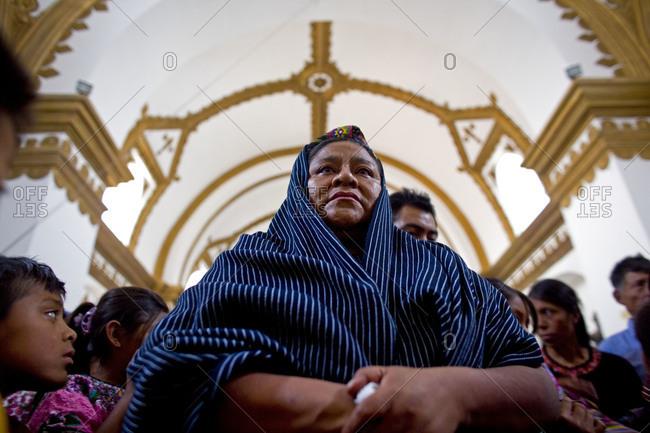 Guatemala City, Guatemala  - September 7, 2007: Rigoberta Menchu at a funeral in San Raymundo, Guatemala