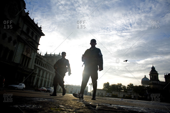 Guatemala City, Guatemala  - September 9, 2007: Two military police officers patrolling Central Plaza in Guatemala City