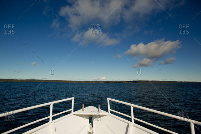 A boat prow in the waters of Isle Royale National Park