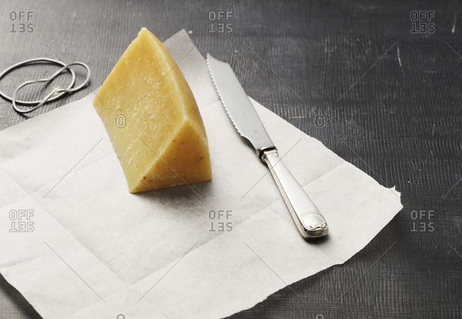 Block of pecorino cheese