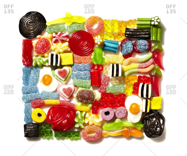 Candy pieces arranged in a box