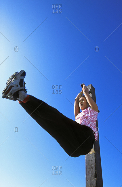 Woman doing leg lifts