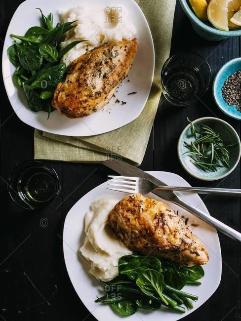 Italian-seasoned roast chicken breasts