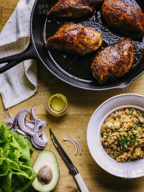 Blackened style chicken breasts in cast iron skillet