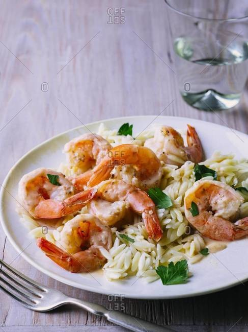 Lemon-parsley shrimp served with orzo