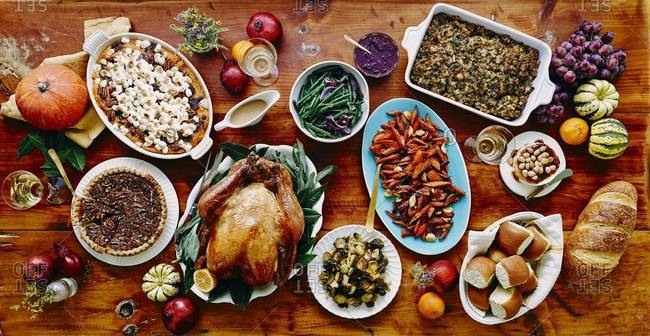 View of a thanksgiving dinner table