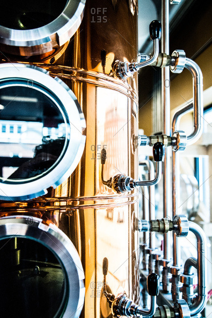 View of a distillery machine in a brewery