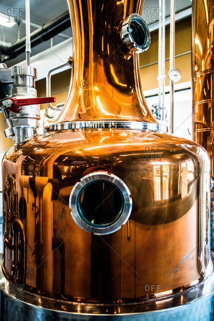 View of a shiny brewery equipment