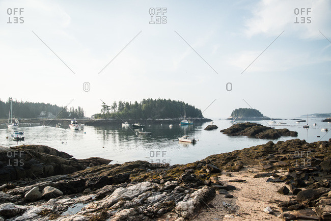 Boats in a bay at Maine, USA