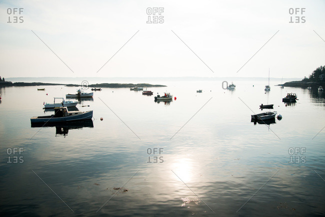 Boats on water at Maine, USA