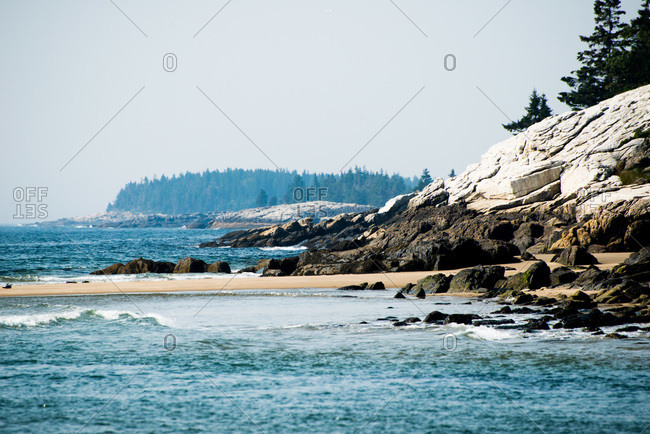 View of the coast in Reid State Park, Maine, USA