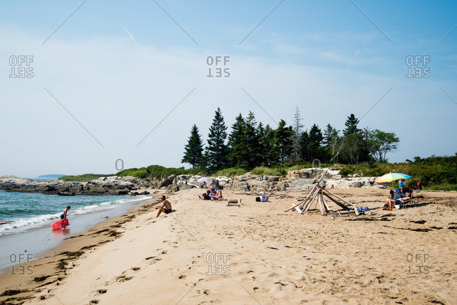 Maine, USA -  August 2013: People on a beach in Reid State Park