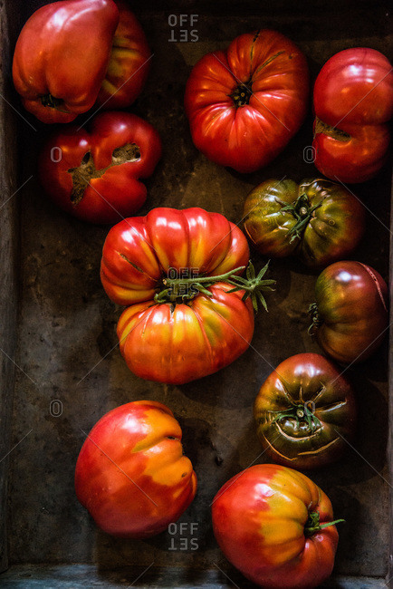 Top view of ripe heirloom tomatoes