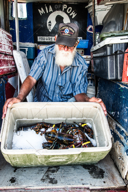 Maine, USA -  August 2013: Senior man selling fresh lobsters from a truck