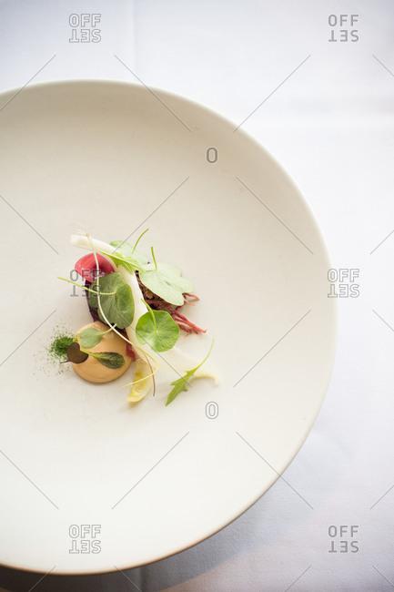 Molecular gastronomy dish