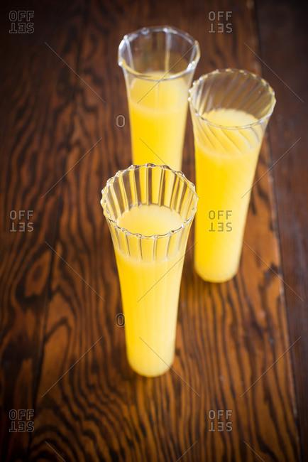 Vodka cocktails in stemless flute glasses