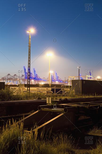 Railway yard, freight train, sidetrack in the evening light