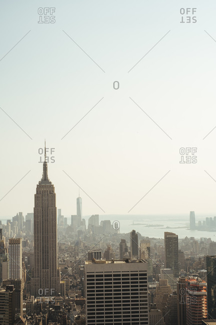 New York City - August 26, 2014: View of New York City featuring the Empire State Building