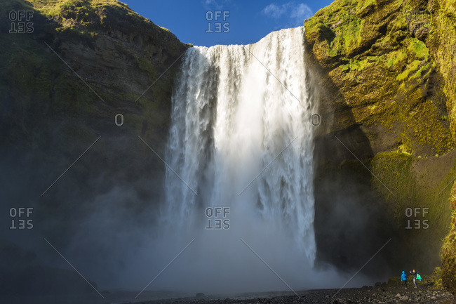 Seljalandsfoss waterfall in Iceland and cliff