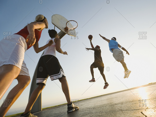 Basketball players, low angle view