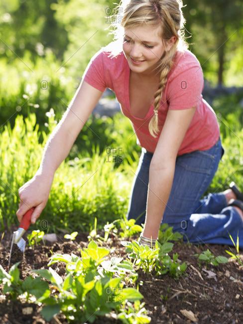 Woman working in garden - Offset