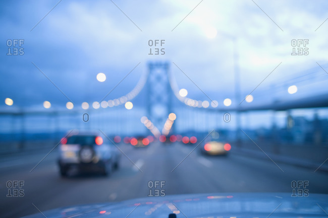 Driving on Golden Gate Bridge, San Francisco