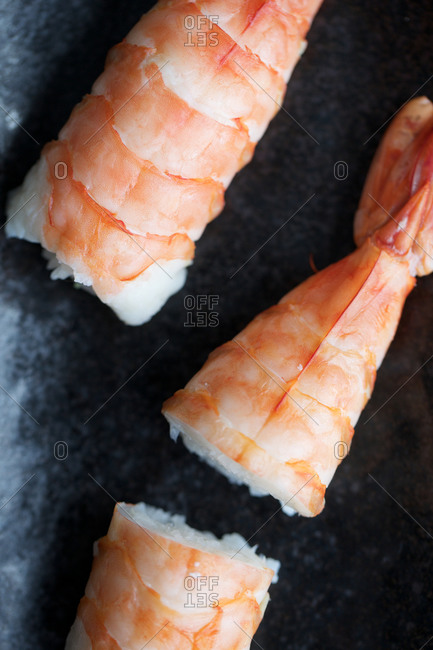 Piece of shrimp sushi with rice