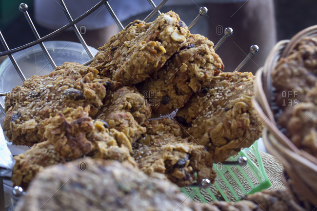 Home-baked granola cookies on sale at local farmers market