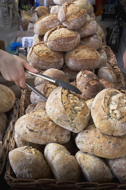 Fresh baked multigrain bread at farmers market