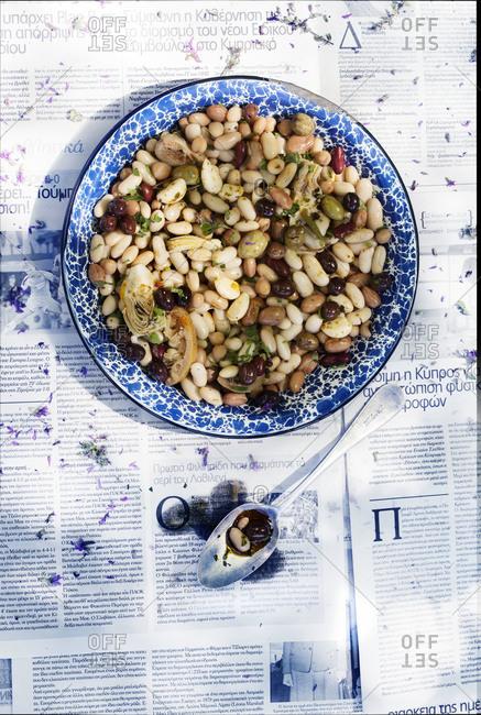 Overhead shot of mixed-bean and artichoke salad