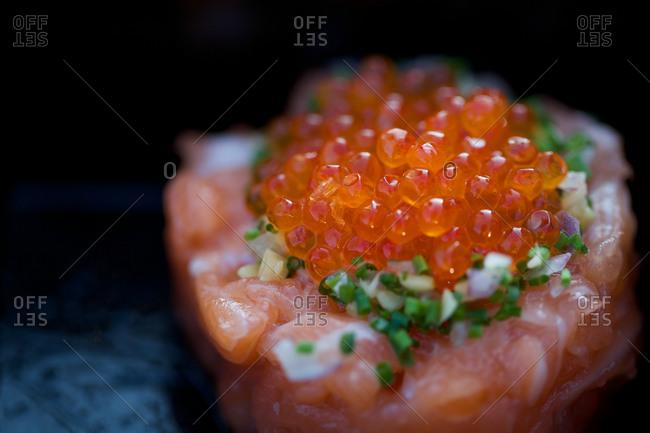 Close up fresh sashimi with roe