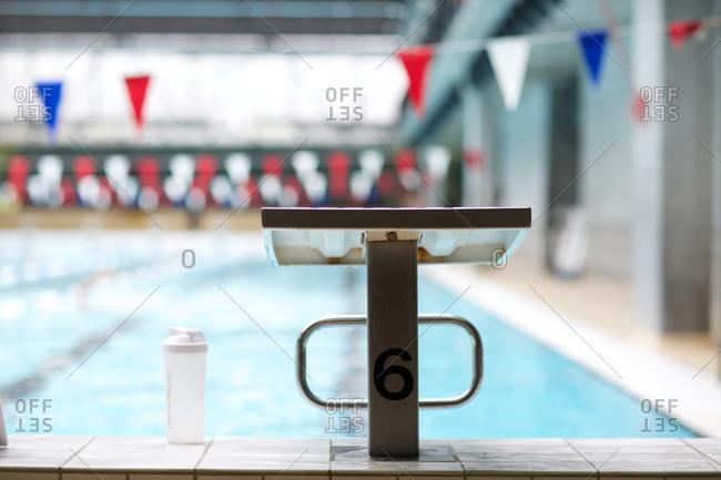 Starting line at swimming pool